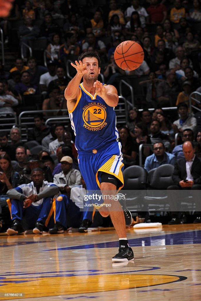 Jason Kapono #22 of the Golden State Warriors makes a pass against the Los Angeles Lakers on October 9, 2014 at the Staples Center in Los Angeles, California.