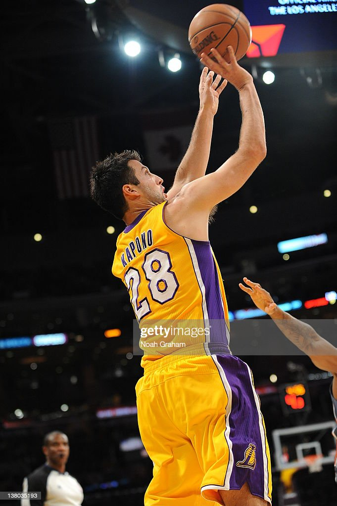 <a gi-track='captionPersonalityLinkClicked' href=/galleries/search?phrase=Jason+Kapono&family=editorial&specificpeople=203032 ng-click='$event.stopPropagation()'>Jason Kapono</a> #28 of the Los Angeles Lakers goes for a jumper during the game between the Los Angeles Lakers and the Charlotte Bobcats at Staples Center on January 31, 2012 in Los Angeles, California.
