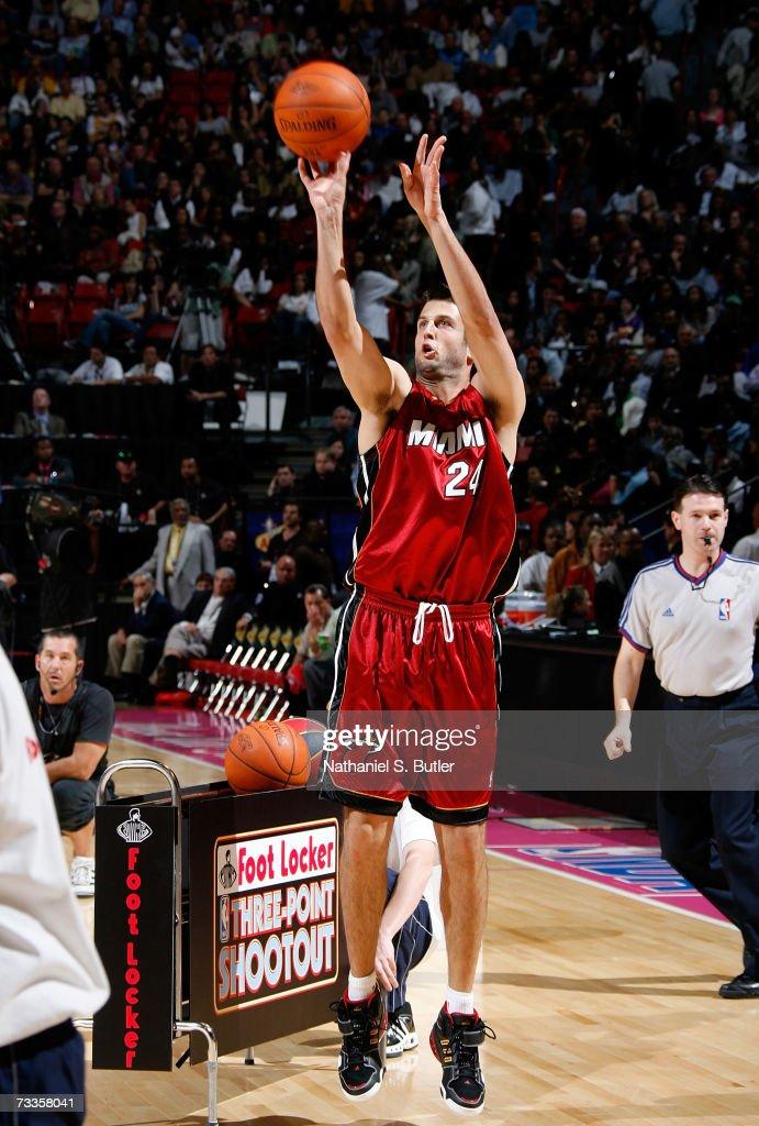 Jason Kapono of the Miami Heat competes during Footlocker ThreePoint Shootout at NBA AllStar Weekend on February 17 2007 at Thomas Mack Center in Las...