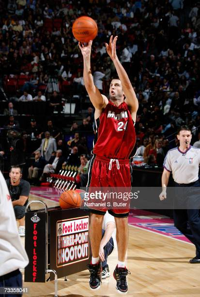 Jason Kapono of the Miami Heat competes during Footlocker ThreePoint Shootout at NBA AllStar Weekend on February 17 2007 at Thomas Mack Center in Las...