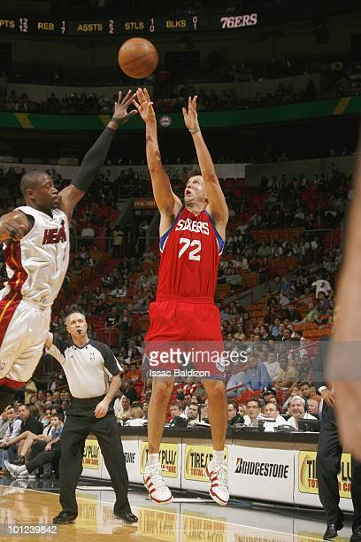 Jason Kapono of the Philadelphia 76ers makes a jumpshot against the Miami Heat during the game on March 14 2010 at American Airlines Arena in Miami...