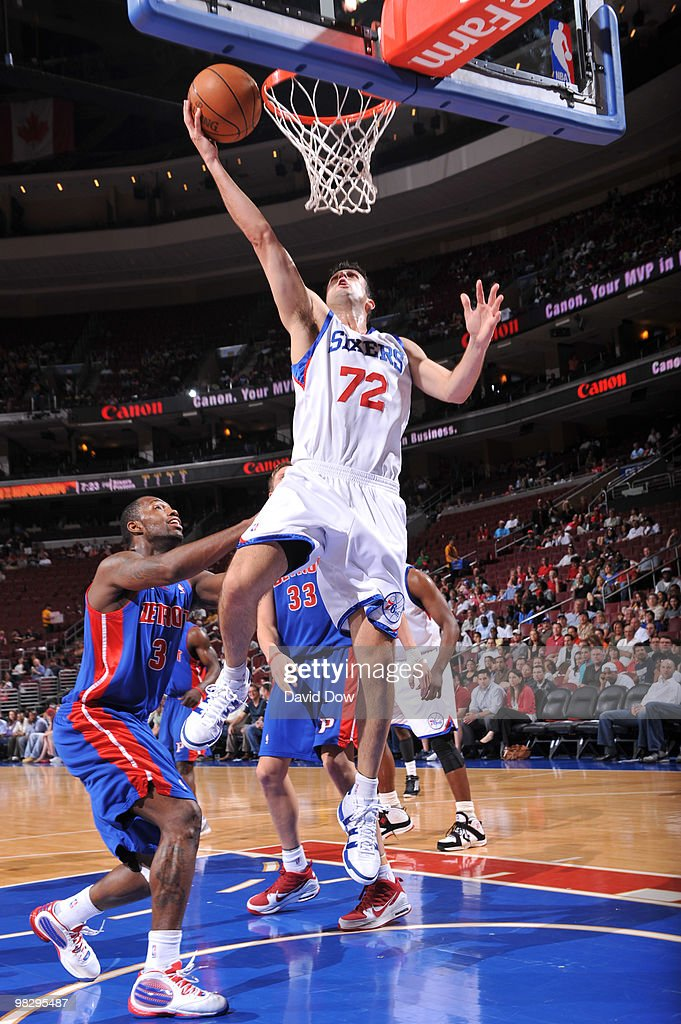 Jason Kapono of the Philadelphia 76ers shoots against Rodney Stuckey of the Detroit Pistons during the game on April 6 2010 at the Wachovia Center in...