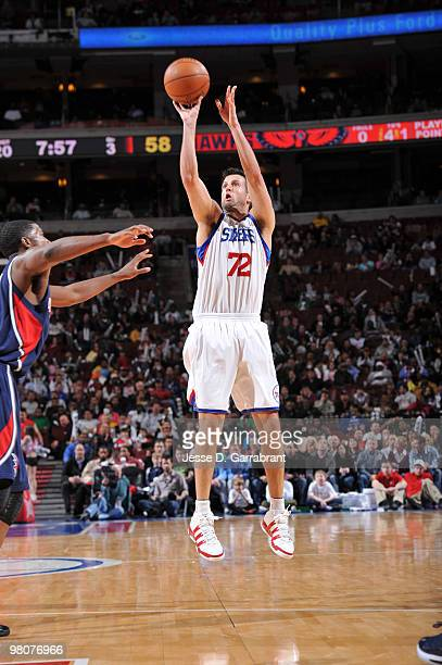 Jason Kapono of the Philadelphia 76ers shoots against the Atlanta Hawks during the game on March 26 2010 at the Wachovia Center in Philadelphia...