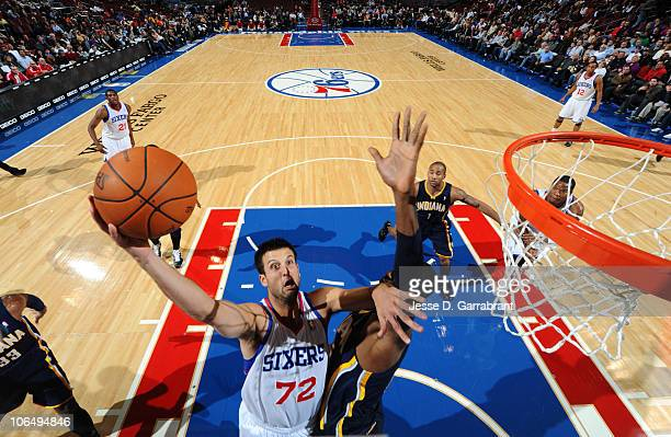 Jason Kapono of the Philadelphia 76ers shoots against the Indiana Pacers during the game on November 3 2010 at the Wells Fargo Center in Philadelphia...