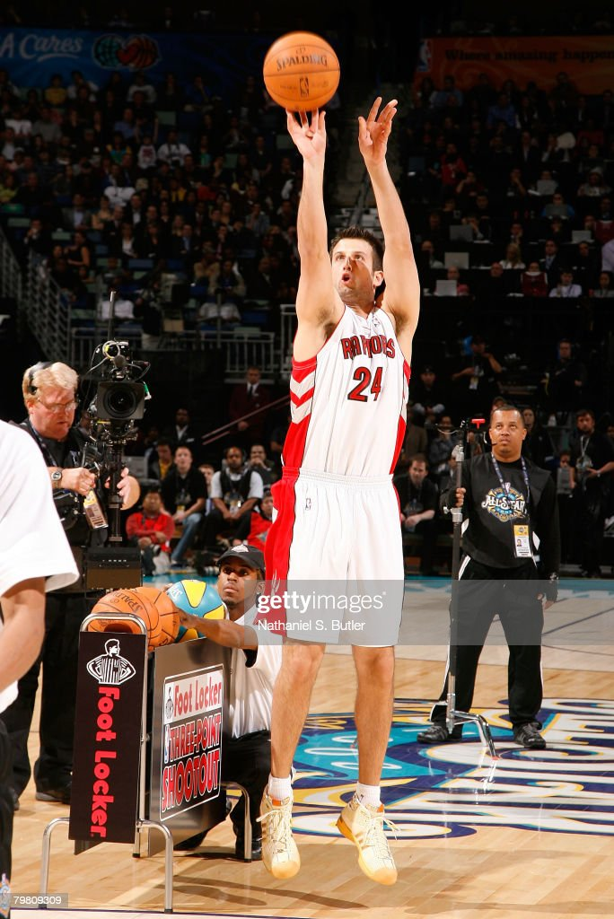 Jason Kapono of the Toronto Raptors competes during the Foot Locker ThreePoint Shootout part of 2008 NBA AllStar Weekend at the New Orleans Arena on...