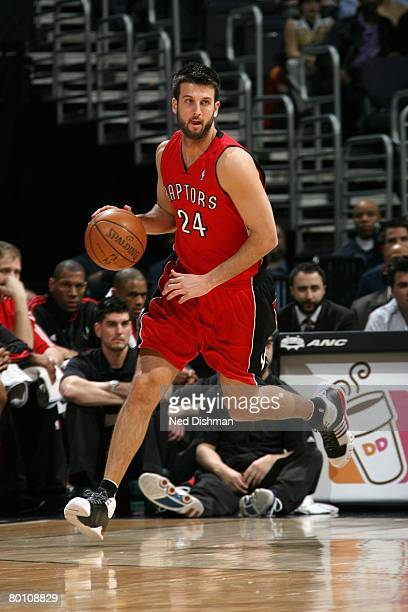 Jason Kapono of the Toronto Raptors moves the ball up court during the game against the Washington Wizards at the Verizon Center on January 29 2008...