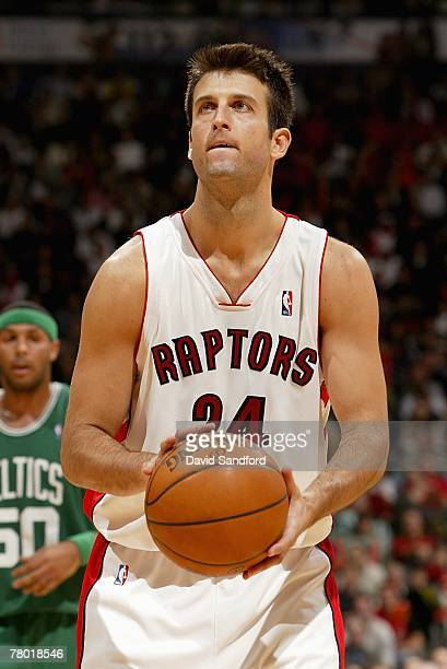 Jason Kapono of the Toronto Raptors shoots a free throw during the game against the Boston Celtics on November 4 2007 at Air Canada Centre in Toronto...