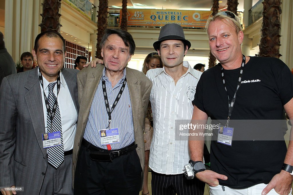 Jason Kartalian and Pierre Richard Muller of Cinema Arts Entertainment, actor <a gi-track='captionPersonalityLinkClicked' href=/galleries/search?phrase=Corey+Feldman&family=editorial&specificpeople=175941 ng-click='$event.stopPropagation()'>Corey Feldman</a> and Gordon Venter of Cinema Arts Entertainment attend American Film Market - Day 6 at the Loews Santa Monica Beach Hotel on November 5, 2012 in Santa Monica, California.