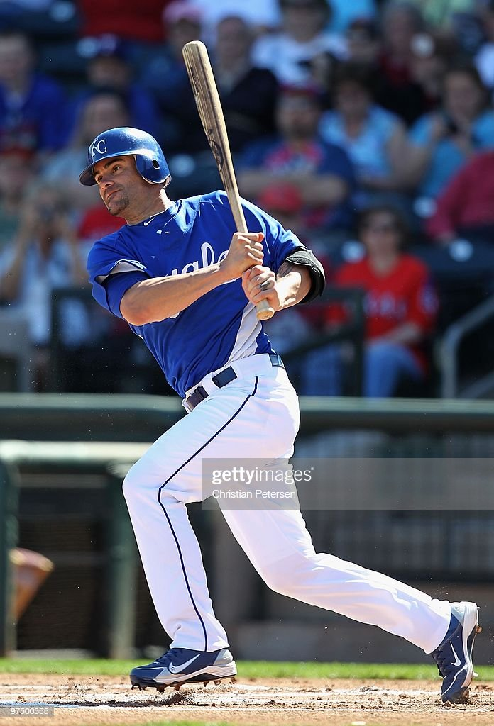 Jason Kendall of the Kansas City Royals bats against the Texas Rangers during the MLB spring training game at Surprise Stadium on March 5 2010 in...
