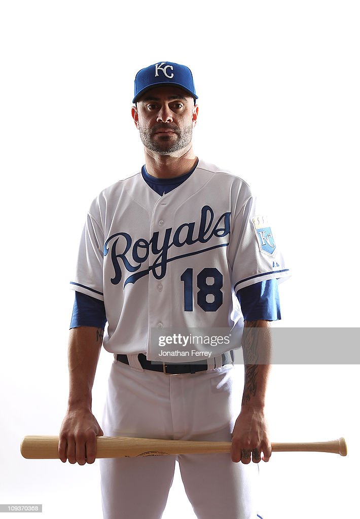 Jason Kendall #18 of the Kansas City Royals poses for a portrait during Spring Training Media Day on February 23, 2011 at Surprise Stadium in Surprise, Arizona..