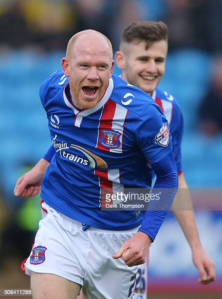 Jason Kennedy of Carlisle United celebrates scoring the first goal during the Sky Bet League Two match between Carlisle United and York City at...