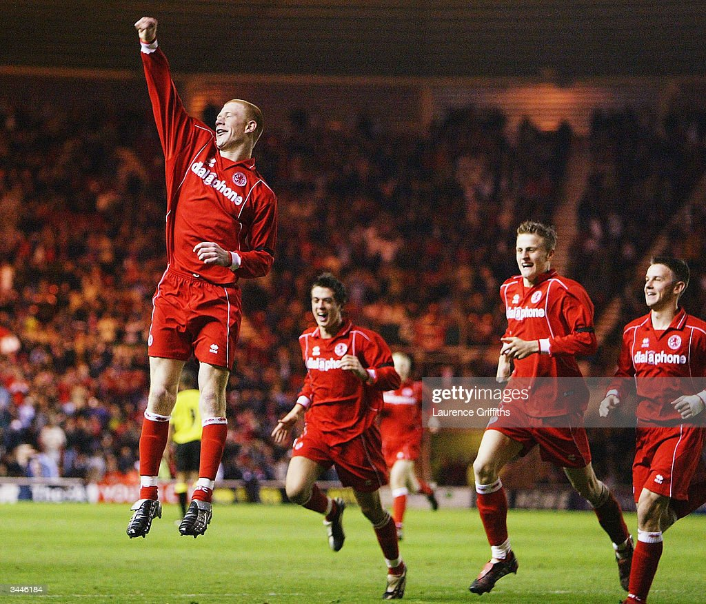 Jason Kennedy of Middlesbrough celebrates his goal during the FA Youth Cup Final 2nd Leg match between Middlesbrough and Aston Villa at The Riverside...