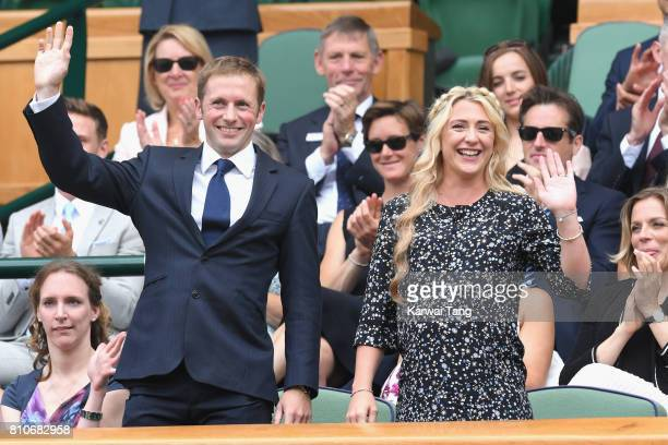 Jason Kenny and Laura Kenny attend day six of the Wimbledon Tennis Championships at the All England Lawn Tennis and Croquet Club on July 8 2017 in...