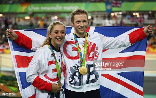 Jason kenny and Laura Trott of Great Britain pose with their Gold medals at Rio Olympic Velodrome on August 16 2016 in Rio de Janeiro Brazil