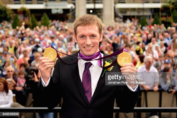 Jason Kenny at a reception in honour of his two Olympic gold medals at Bolton Town Hall Lancashire where thousands of people gathered to welcome him