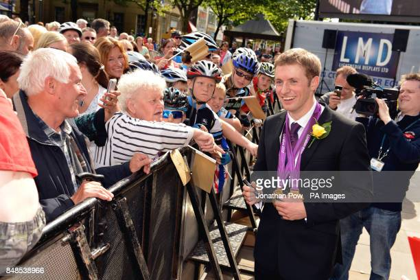 Jason Kenny greets fans at a reception in honour of his two Olympic gold medals at Bolton Town Hall Lancashire where thousands of people gathered to...