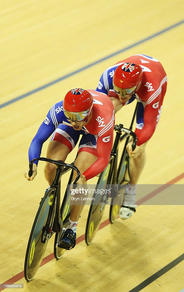 Jason Kenny leads Ed Clancy of Great Britain in the Men's Team Sprint final during day one of the UCI Track Cycling World Cup at the Sir Chris Hoy Velodrome on November 16, 2012 in Glasgow, Scotland.