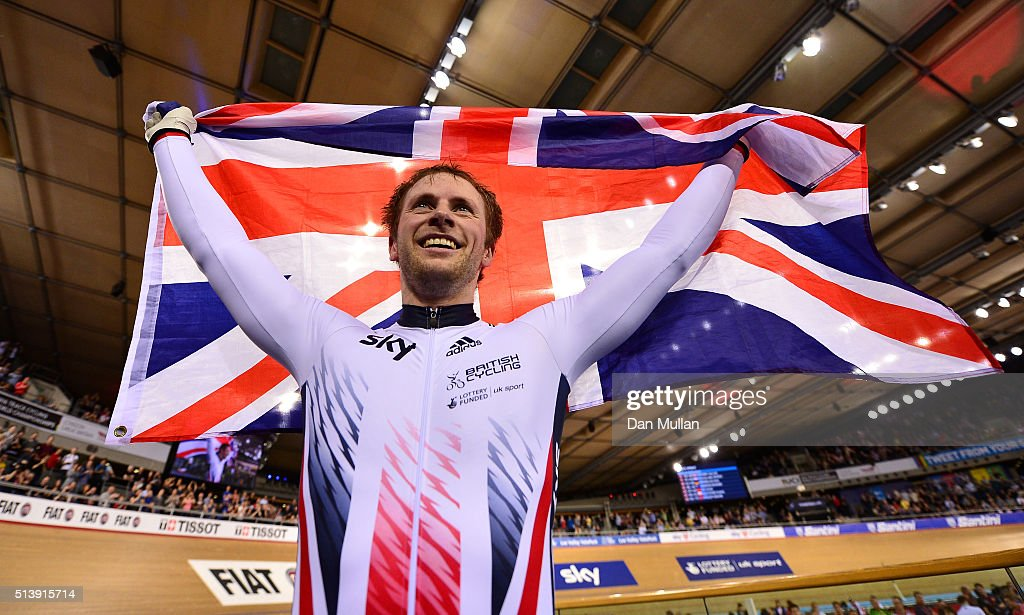Jason Kenny of Great Britain celebrates after winning the Men's Sprint Final during Day Four of the UCI Track Cycling World Championships at Lee...