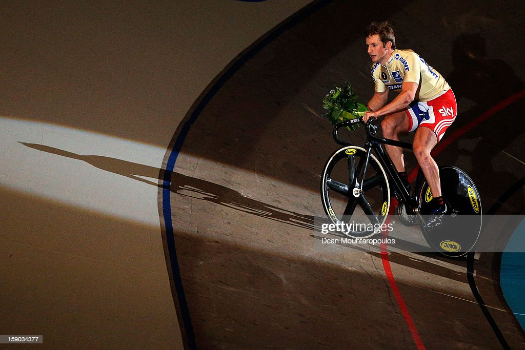 <a gi-track='captionPersonalityLinkClicked' href=/galleries/search?phrase=Jason+Kenny&family=editorial&specificpeople=4167086 ng-click='$event.stopPropagation()'>Jason Kenny</a> of Great Britain celebrates his win in the Giant Sprint Masters during the Rotterdam 6 Day Cycling at Ahoy Rotterdam on January 6, 2013 in Rotterdam, Netherlands.