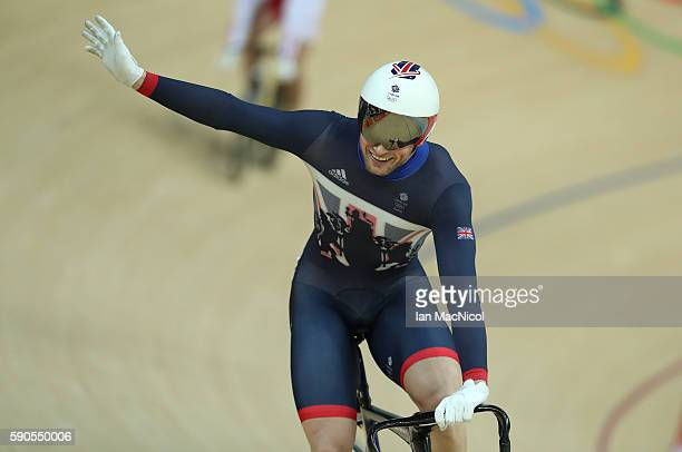 Jason kenny of Great Britain celebrates victory in the final of The Men's Keirin at Rio Olympic Velodrome on August 16 2016 in Rio de Janeiro Brazil