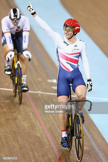 Jason Kenny of Great Britain celebrates winning gold in the men's keirin final during day three of the UCI Track World Championships at Minsk Arena...