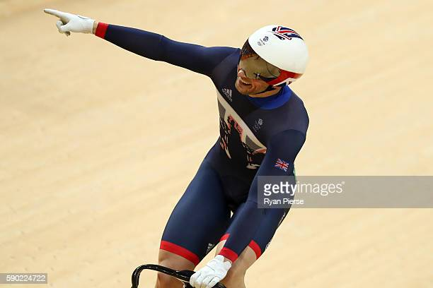 Jason Kenny of Great Britain celebrates winning gold in the Men's Keirin Finals race on Day 11 of the Rio 2016 Olympic Games at the Rio Olympic...