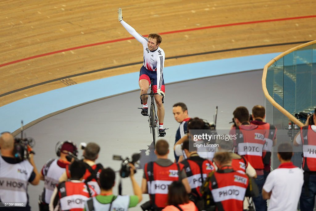 Jason Kenny of Great Britain celebrates winning the Men's Sprint on day four of the UCI Track Cycling World Championships at Lee Valley Velopark Velodrome on March 5, 2016 in London, England.