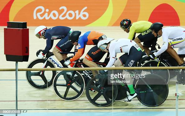 Jason kenny of Great Britain claims victory in the final of The Men's Keirin at Rio Olympic Velodrome on August 16 2016 in Rio de Janeiro Brazil