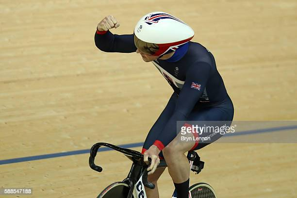 Jason Kenny of Great Britain competes in the Men's Team Sprint Track Cycling Qualifying on Day 6 of the 2016 Rio Olympics at Rio Olympic Velodrome on...
