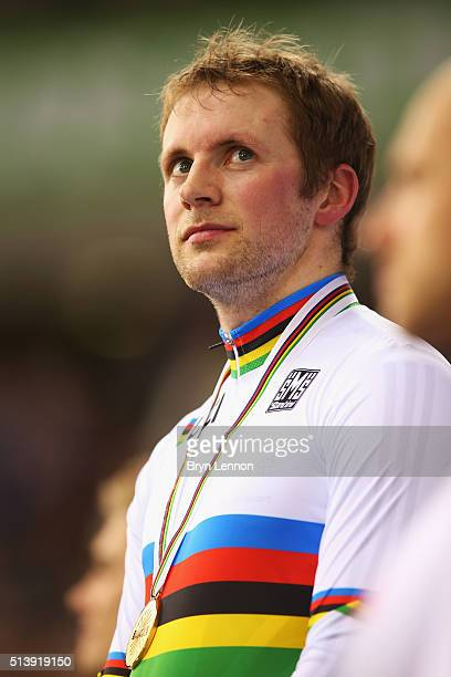 Jason Kenny of Great Britain stands on the podium after winning the Men's Sprint on day four of the UCI Track Cycling World Championships at Lee...