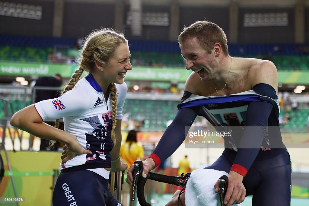 Jason Kenny of Great Britain talks with his girl friend and gold medalist Laura Trott after competing in the Men's Sprint on Day 8 of the Rio 2016...