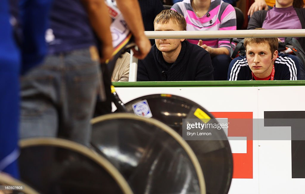 Jason Kenny of Great Britain watches the start of the Women's Omnium from the crowd on day five of the 2013 UCI Track World Championships at the Minsk Arena on February 24, 2013 in Minsk, Belarus.