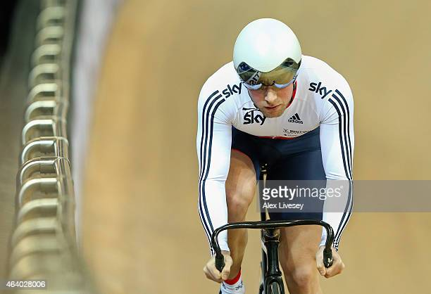 Jason Kenny of the Great Britain Cycling Team competes in the Men's Sprint Qualifying during Day Four of the UCI Track Cycling World Championships at...