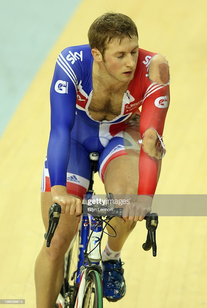 Jason Kenny rides around the track after crashing out of the Men's Kierin Final on day two of the UCI Track Cycling World Cup at Sir Chris Hoy Velodrome on November 17, 2012 in Glasgow, Scotland.