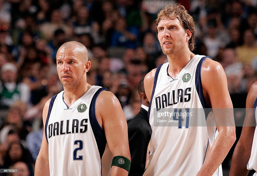 Jason Kidd #2 and Dirk Nowitzki #41 of the Dallas Mavericks stand on the court against the Orlando Magic during the game on April 1, 2010 at American Airlines Center in Dallas, Texas. The Magic won 97-82.