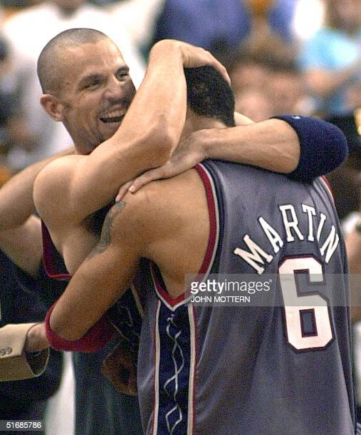 Jason Kidd and Jason Kidd of the New Jersey Nets celebrate after beating the Boston Celtics 9688 in game six to win the Eastern Conference finals 31...