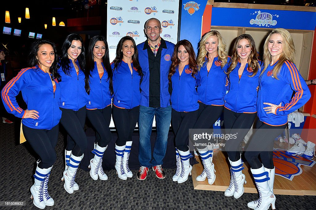 <a gi-track='captionPersonalityLinkClicked' href=/galleries/search?phrase=Jason+Kidd&family=editorial&specificpeople=201560 ng-click='$event.stopPropagation()'>Jason Kidd</a> and Knicks City Dancers attend the 14th Annual Knicks Bowl at Chelsea Piers on February 11, 2013 in New York City.
