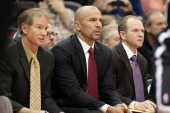 Jason Kidd and Lawrence Frank of the Brooklyn Nets sit on the bench against the Minnesota Timberwolves on November 22 2013 at Target Center in...