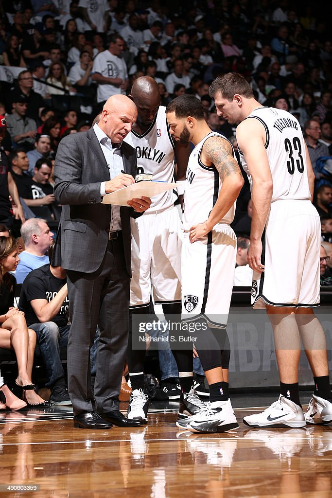 <a gi-track='captionPersonalityLinkClicked' href=/galleries/search?phrase=Jason+Kidd&family=editorial&specificpeople=201560 ng-click='$event.stopPropagation()'>Jason Kidd</a> and members of the Brooklyn Nets talk during a game against the Miami Heat during Game Three of the Eastern Conference Semifinals on May 10, 2014 at Barclays Center in Brooklyn.
