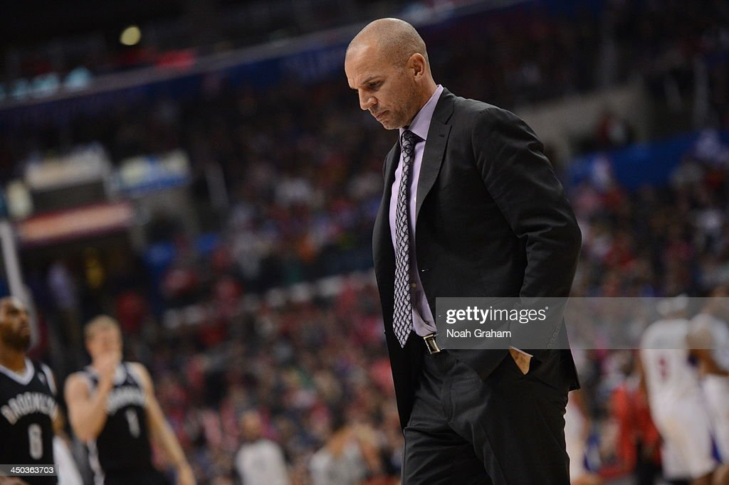 <a gi-track='captionPersonalityLinkClicked' href=/galleries/search?phrase=Jason+Kidd&family=editorial&specificpeople=201560 ng-click='$event.stopPropagation()'>Jason Kidd</a>, Head Coach of the Brooklyn Nets during a game against the Los Angeles Clippers on November 16, 2013 at STAPLES Center in Los Angeles, California.