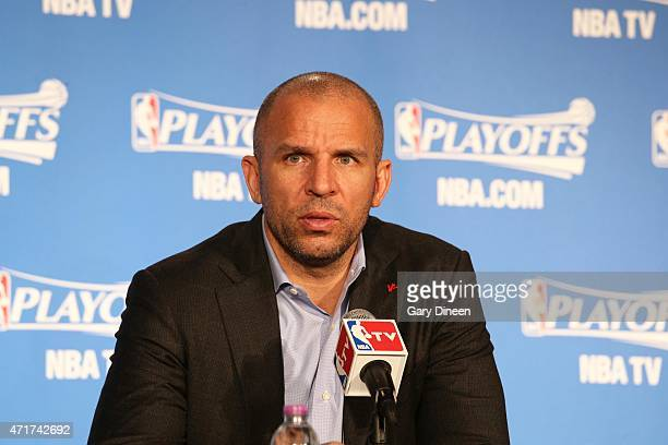 Jason Kidd head coach of the Milwaukee Bucks speaks with the media after the game against the Chicago Bulls in Game Six of the Eastern Conference...