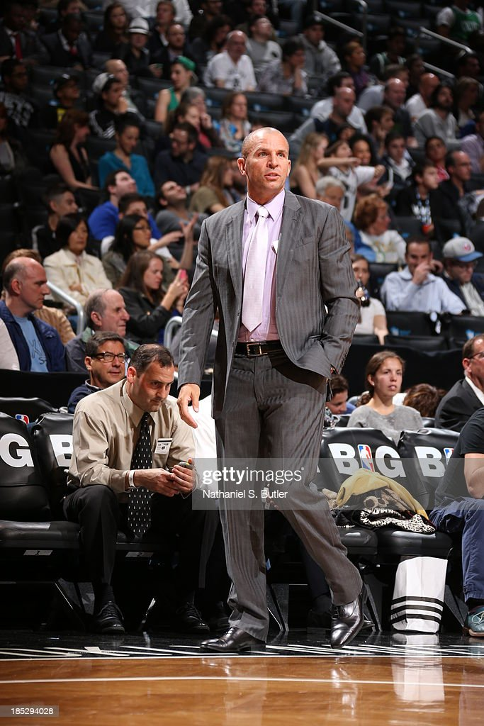 <a gi-track='captionPersonalityLinkClicked' href=/galleries/search?phrase=Jason+Kidd&family=editorial&specificpeople=201560 ng-click='$event.stopPropagation()'>Jason Kidd</a> of the Brooklyn Nets coaches against the Boston Celtics during a preseason game at the Barclays Center on October 15, 2013 in the Brooklyn borough of New York City.