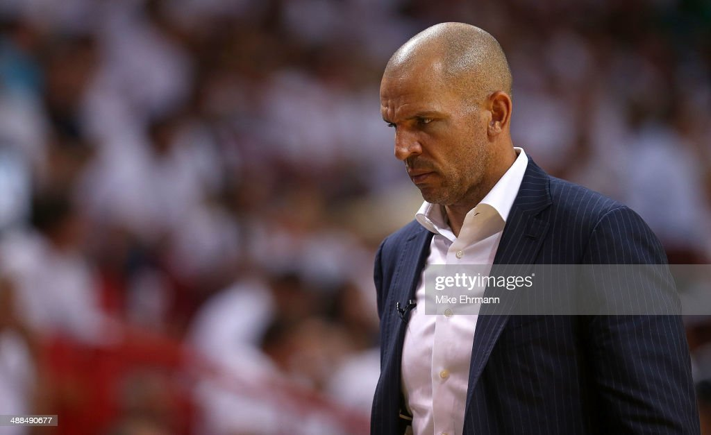 <a gi-track='captionPersonalityLinkClicked' href=/galleries/search?phrase=Jason+Kidd&family=editorial&specificpeople=201560 ng-click='$event.stopPropagation()'>Jason Kidd</a> of the Brooklyn Nets looks on during Game One of the Eastern Conference Semifinals of the 2014 NBA Playoffs against the Miami Heat at American Airlines Arena on May 6, 2014 in Miami, Florida.