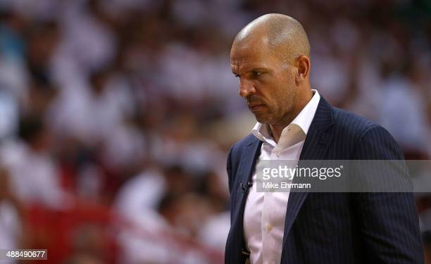 Jason Kidd of the Brooklyn Nets looks on during Game One of the Eastern Conference Semifinals of the 2014 NBA Playoffs against the Miami Heat at...