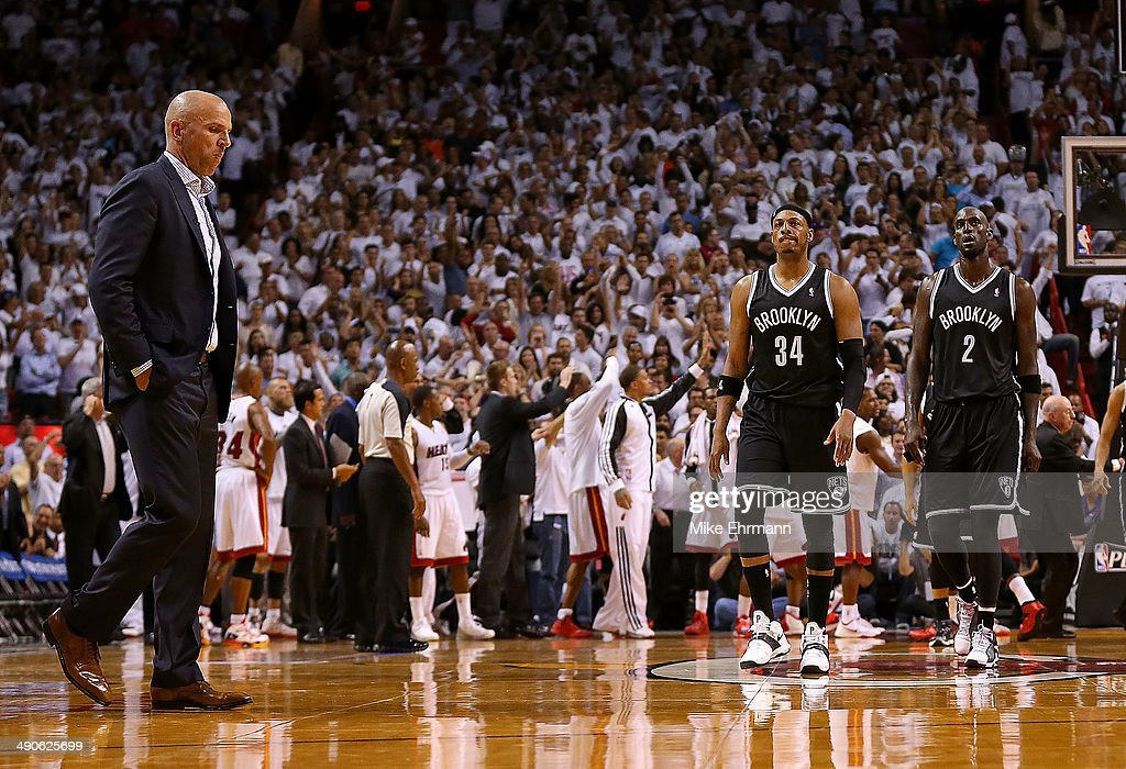 Jason Kidd of the Brooklyn Nets Paul Pierce and Kevin Garnett of the Brooklyn Nets look on during Game Five of the Eastern Conference Semifinals of...