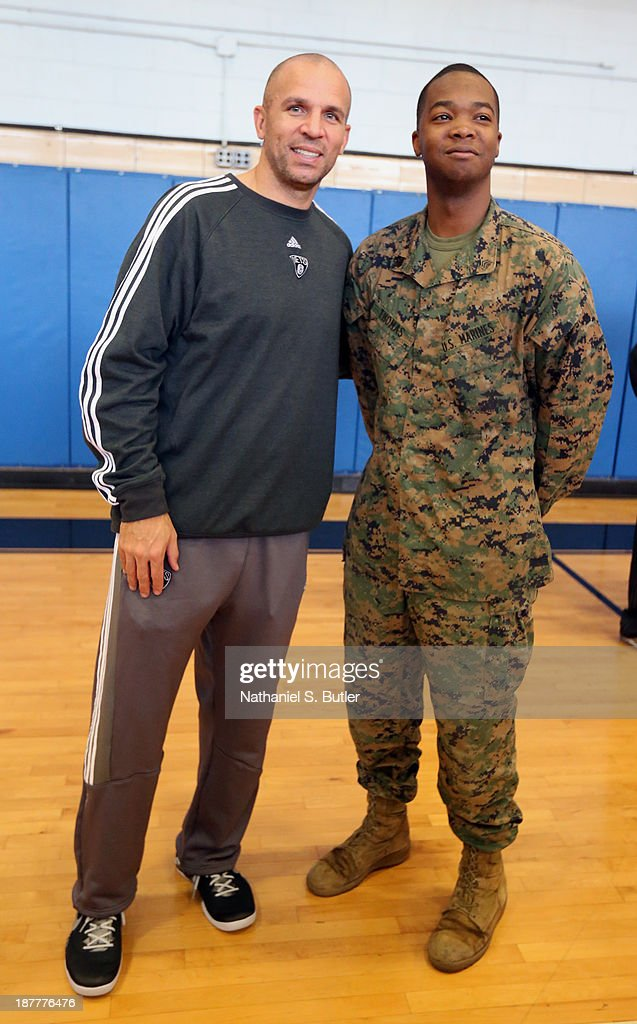 Jason Kidd of the Brooklyn Nets poses for a picture during a team event in celebration of Veterans Day at Ft. Hamilton, Brooklyn on November 11, 2013 in the Brooklyn borough of New York City.