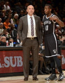 TORONTO CANADA Jason Kidd of the Brooklyn Nets talks with Tyshawn Taylor during the game against the Toronto Raptors on November 26 2013 at the Air...