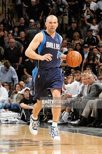 Jason Kidd of the Dallas Mavericks brings the ball upcourt against the San Antonio Spurs in Game Six of the Western Conference Quarterfinals during...