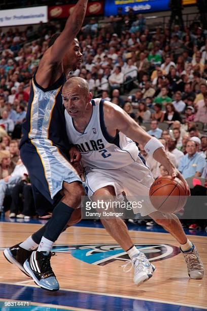 Jason Kidd of the Dallas Mavericks drives against Mike Conley of the Memphis Grizzlies during a game at the American Airlines Center on April 7 2010...