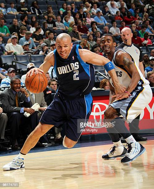 Jason Kidd of the Dallas Mavericks drives around Mike Conley of the Memphis Grizzlies on March 31 2010 at FedExForum in Memphis Tennessee NOTE TO...